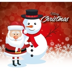 santa claus and snowman christmas card snowflake vector image