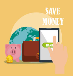 Save money on line with smartphone vector