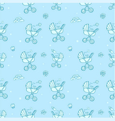 Seamless monochrome blue pattern with cute baby vector