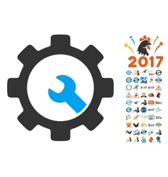 Service Tools Icon With 2017 Year Bonus Symbols vector image