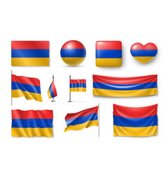 set armenia flags banners banners symbols flat vector image
