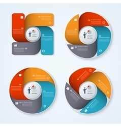 set modern business infographic circles vector image