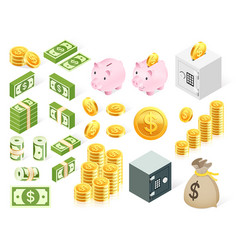 Set money icon symbol vector