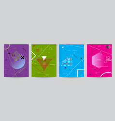 set of colored covers with geometric forms vector image