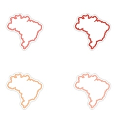 Set of stickers Brazilian map on white background vector