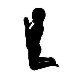 Silhouette a boy who pray vector