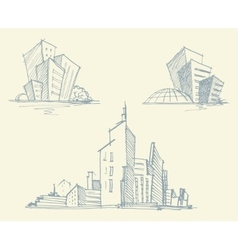 Sketches of city buildings vector image vector image