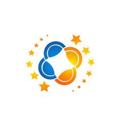 Stars logo made in trendy line stile space vector