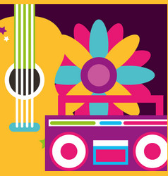 Stereo radio guitar and flowers hippie free spirit vector