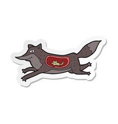 Sticker of a cartoon wolf with mouse in belly vector