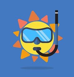 Summer sun wearing a diving mask and snokel vector image