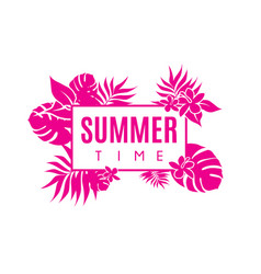 Summer time colorful banner with tropical flowers vector