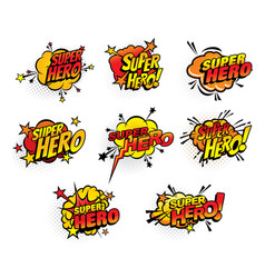 super hero comics half tone bubbles icons vector image