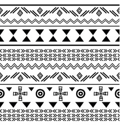 tribal black on white seamless repeat pattern vector image