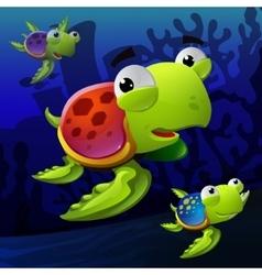 turtles underwater vector image