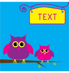 Two cute owls Card vector