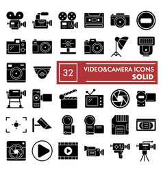 videocamera glyph icon set camera symbols vector image