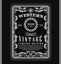 Vintage frame border western label retro frame vector