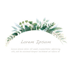 watercolor botanical arch background vector image