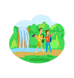 Waterfall natural landscape tourists traveling vector