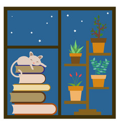 Window sill with sleeping cat vector