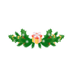winter holidays decoration with mistletoe leaves vector image