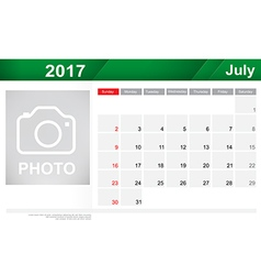 Year 2017 July month simple and clear design vector image