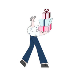 young man carrying stack of vector image