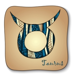 Zodiac sign - Taurus Doodle hand-drawn style vector image