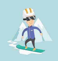 Adult man snowboarding vector