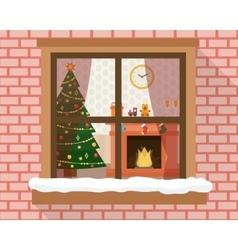 Christmas room through the window vector
