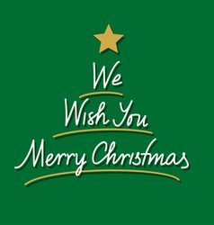 merry christmas hand lettering and tree vector image