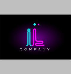neon lights alphabet il i l letter logo icon vector image vector image
