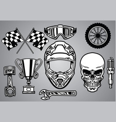 Set of motocross racing with skull vector