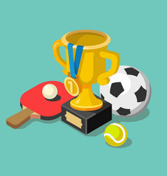 trophy cup with sport balls vector image vector image