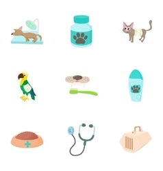 Veterinary things icons set cartoon style vector image vector image