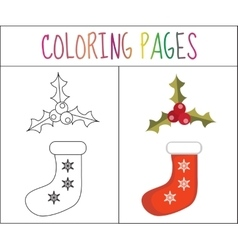 Coloring book page christmas sock and holly vector