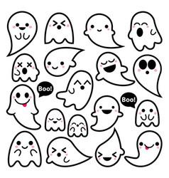 cute ghosts icons halloween design set ka vector image vector image