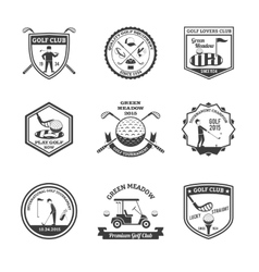 Golf Black White Emblems Set vector image vector image