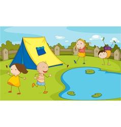 Kids camping vector image