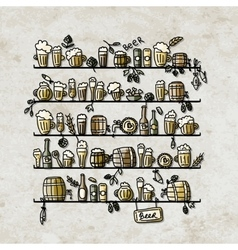 Shelves with beer sketch for your design vector image