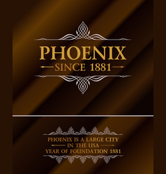 vintage gold hipster label with lettering phoenix vector image vector image