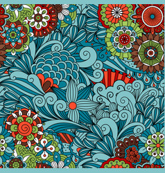 blue floral and swirls decorative pattern vector image