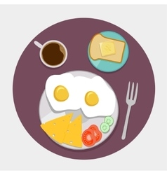 Breakfast icons flat set with coffee time vector image vector image