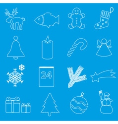 christmas white and blue outline icons collection vector image vector image