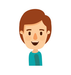 colorful caricature side view half body boy with vector image