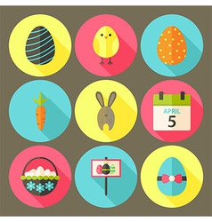 Easter flat styled circle icon set 6 with long vector image vector image