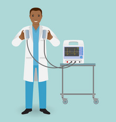 emergency doctor with a defibrillator in his hand vector image vector image