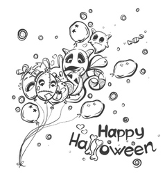 Ghost with the balls - Halloween doodles vector image