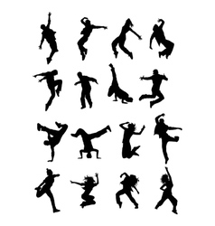 Hip Hop Dancer Silhouettes vector image vector image